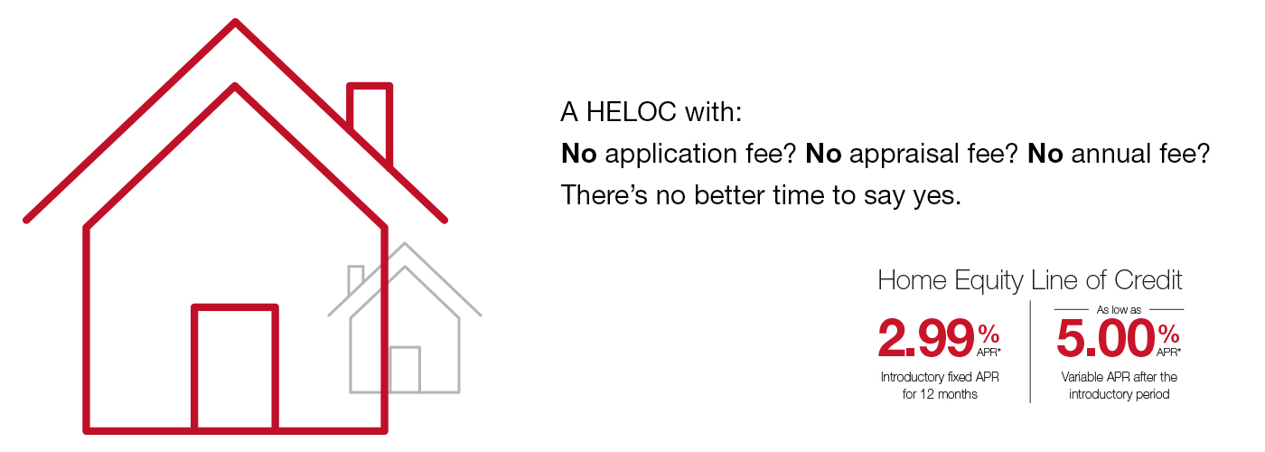 Home Equity Line of Credit A HELOC with: No application fee? No appraisal fee? No annual fee?  There's no better time to say yes.